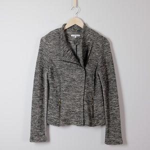 Drew Zip Front Metallic Knit Blazer Jacket